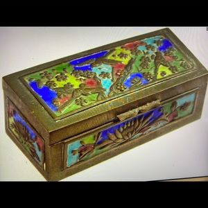 "Antique Chinese Miniature Brass Stamp Box 3.5""Wide"